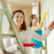 Women paints wall - Stock Photo