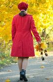 Rear view of walking woman — Stock Photo