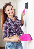 Happy pretty housewife at home — Stock Photo