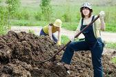 Farmáři pracuje s hnojem — Stock fotografie