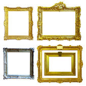 Set of 5 gold frames — Stock Photo