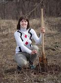 Vrouw maken boomgaard met spade en spruiten — Stockfoto