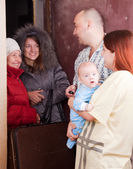 Family of three is meeting a kinsfolk — Stock Photo