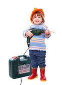 Baby in hardhat with drill and tool box — Stock Photo