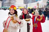 Women during Maslenitsa festival in Russia — Stock Photo