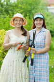 Female gardeners with garden tools — Stock Photo