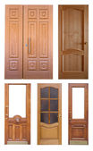 Set of wooden doors. Isolated over white — Stock Photo