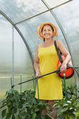 Gardener working with garden spray — Stock Photo