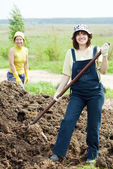 Women scatters the manure — Stock Photo