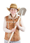 Happy pastoral woman with spade — Stock Photo