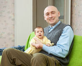 Happy father with 2 month child — Stock Photo