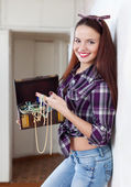 Portrait of woman with treasure chest — Stock Photo
