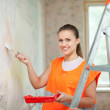 Female house painter paints wall — Stock Photo #24183411
