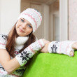 Stock Photo: Girl warms at home in winter