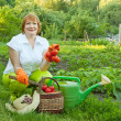 Woman in vegetables garden — Stock Photo