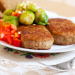 fried cutlets  and broccoli   — Stock Photo