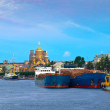 Cargo ships at Neva river in morning — Stock Photo