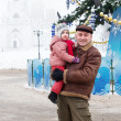 father with child  in Christmas time   — Photo