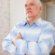 Stock Photo: Wistful grizzled elderly man