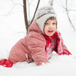Playing baby in winter — Stock Photo