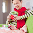Illness woman with hot cup — Stock Photo