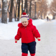 Happy toddler  in winter — Stock Photo