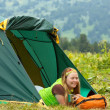 Young woman  at camping — Stock Photo