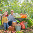 Happy family with vegetables harvest — Stock Photo #24185587
