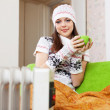 Woman with cup in winter — Stock Photo