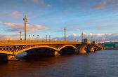 Blagoveshchensky Bridge at St. Petersburg in morning — Stock Photo