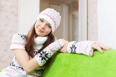 Girl warms at home in winter — Stock Photo