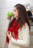 Colds woman with cup of medicine gargling — Stock Photo