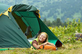 Happy camping woman — Foto Stock
