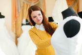 Girl at shop of wedding fashion — Stock Photo