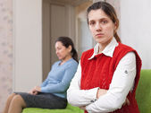 Quarrel of adult daughter and mother — Stock Photo