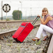 Woman with luggage — Stock Photo #25913893