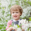 Baby girl in spring  garden — Stock Photo