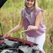 Womtrying to fix car — Stock Photo #25914221