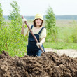 Stock Photo: Womworks with manure