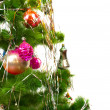 Christmas and new year decoration on white background — ストック写真