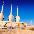 Chimneys of Besos power thermal station in Sand Adria de Besos — Stock Photo