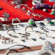Stock Photo: Rings on jewelry counter