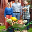 Stock Photo: Happy family with vegetables in garden