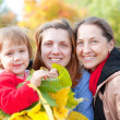 Three generations women in  autumn — Stock Photo