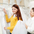 Mature woman with bride at wedding store — Stock Photo