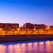 View of Barcelona from sea side in night - Photo