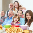 Portrait of happy three generations family — Stock Photo