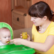 Mother feeding her 6 month daughter — Stock Photo #25918705