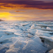 River in frosty winter sunset — Stockfoto