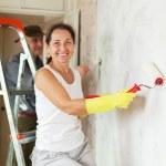 Mature woman and man making repairs at in apartment — Stock Photo #25918899